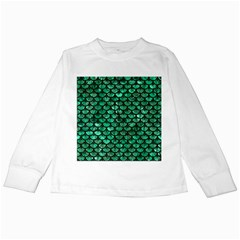Scales3 Black Marble & Green Marble Kids Long Sleeve T Shirt
