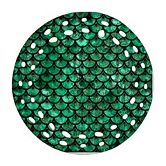 Scales3 Black Marble & Green Marble Round Filigree Ornament (two Sides)