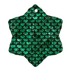 Scales3 Black Marble & Green Marble Snowflake Ornament (two Sides)