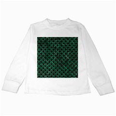 Scales2 Black Marble & Green Marble (r) Kids Long Sleeve T Shirt