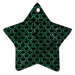 Scales2 Black Marble & Green Marble (r) Star Ornament (two Sides)