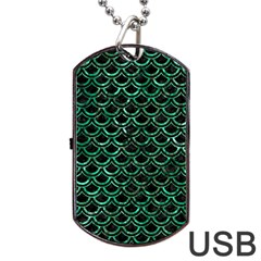 Scales2 Black Marble & Green Marble (r) Dog Tag Usb Flash (one Side)