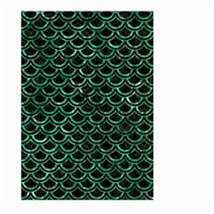 Scales2 Black Marble & Green Marble (r) Large Garden Flag (two Sides)