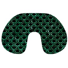 Scales2 Black Marble & Green Marble (r) Travel Neck Pillow