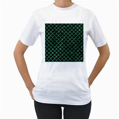 Scales1 Black Marble & Green Marble (r) Women s T Shirt (white) (two Sided)