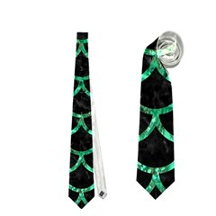 Scales1 Black Marble & Green Marble (r) Necktie (one Side)