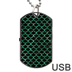 Scales1 Black Marble & Green Marble (r) Dog Tag Usb Flash (two Sides)
