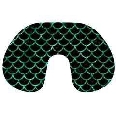 Scales1 Black Marble & Green Marble (r) Travel Neck Pillow