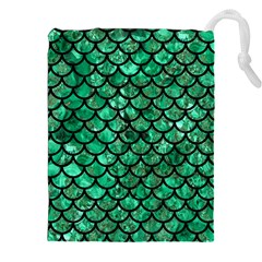 Scales1 Black Marble & Green Marble Drawstring Pouch (xxl)