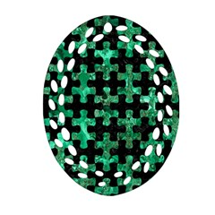 Puzzle1 Black Marble & Green Marble Oval Filigree Ornament (two Sides)