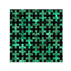 Puzzle1 Black Marble & Green Marble Small Satin Scarf (square)