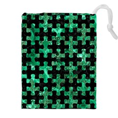 Puzzle1 Black Marble & Green Marble Drawstring Pouch (xxl)