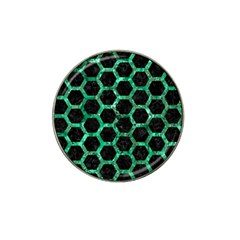 Hexagon2 Black Marble & Green Marble (r) Hat Clip Ball Marker (4 Pack)
