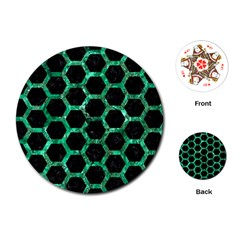 Hexagon2 Black Marble & Green Marble (r) Playing Cards (round)