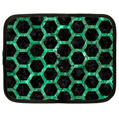 Hexagon2 Black Marble & Green Marble (r) Netbook Case (large)