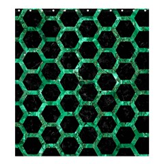 Hexagon2 Black Marble & Green Marble (r) Shower Curtain 66  X 72  (large)