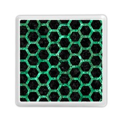 Hexagon2 Black Marble & Green Marble (r) Memory Card Reader (square)