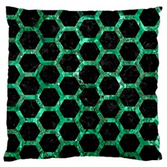 Hexagon2 Black Marble & Green Marble (r) Large Flano Cushion Case (one Side)