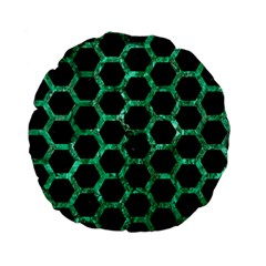 Hexagon2 Black Marble & Green Marble (r) Standard 15  Premium Flano Round Cushion