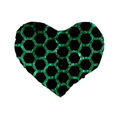 Hexagon2 Black Marble & Green Marble (r) Standard 16  Premium Flano Heart Shape Cushion