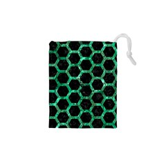 Hexagon2 Black Marble & Green Marble (r) Drawstring Pouch (xs)