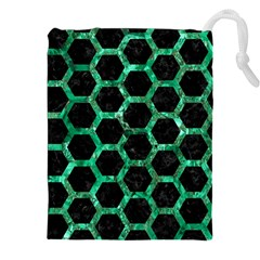 Hexagon2 Black Marble & Green Marble (r) Drawstring Pouch (xxl)