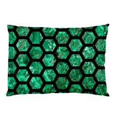 Hexagon2 Black Marble & Green Marble Pillow Case