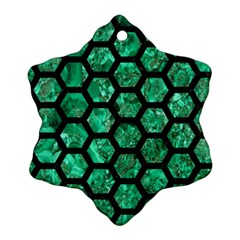 Hexagon2 Black Marble & Green Marble Snowflake Ornament (two Sides)