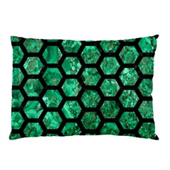 Hexagon2 Black Marble & Green Marble Pillow Case (two Sides)