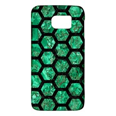 Hexagon2 Black Marble & Green Marble Samsung Galaxy S6 Hardshell Case