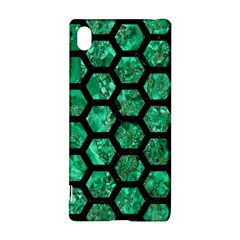 Hexagon2 Black Marble & Green Marble Sony Xperia Z3+ Hardshell Case