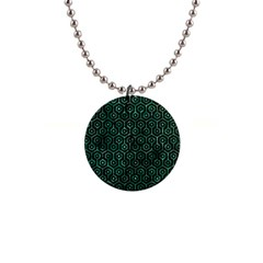 Hexagon1 Black Marble & Green Marble (r) 1  Button Necklace