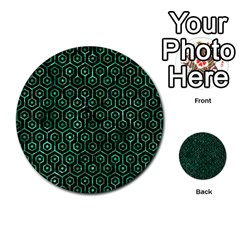 Hexagon1 Black Marble & Green Marble (r) Multi Purpose Cards (round)