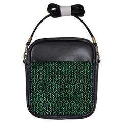 Hexagon1 Black Marble & Green Marble (r) Girls Sling Bag