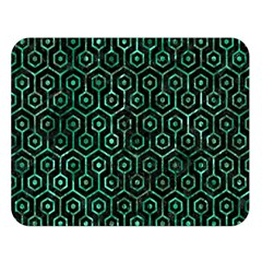 Hexagon1 Black Marble & Green Marble (r) Double Sided Flano Blanket (large)