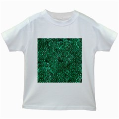 Hexagon1 Black Marble & Green Marble Kids White T Shirt
