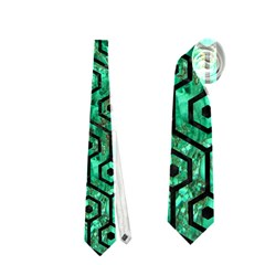 Hexagon1 Black Marble & Green Marble Necktie (one Side)