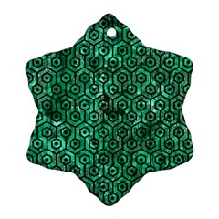 Hexagon1 Black Marble & Green Marble Snowflake Ornament (two Sides)