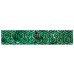 Hexagon1 Black Marble & Green Marble Flano Scarf (small)