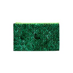Hexagon1 Black Marble & Green Marble Cosmetic Bag (xs)