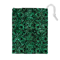 Damask2 Black Marble & Green Marble (r) Drawstring Pouch (xl)