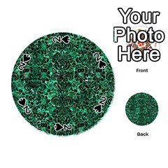 Damask2 Black Marble & Green Marble Playing Cards 54 (round)