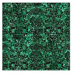 Damask2 Black Marble & Green Marble Large Satin Scarf (square)