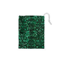 Damask2 Black Marble & Green Marble Drawstring Pouch (xs)