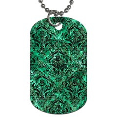 Damask1 Black Marble & Green Marble (r) Dog Tag (two Sides)