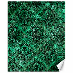 Damask1 Black Marble & Green Marble (r) Canvas 16  X 20