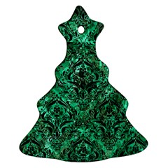 Damask1 Black Marble & Green Marble (r) Christmas Tree Ornament (two Sides)