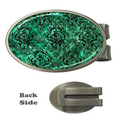 Damask1 Black Marble & Green Marble Money Clip (oval)