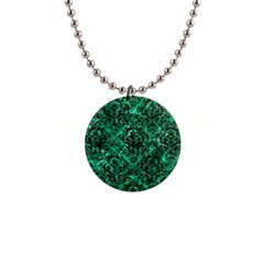 Damask1 Black Marble & Green Marble 1  Button Necklace