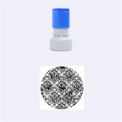 Damask1 Black Marble & Green Marble Rubber Stamp Round (small)